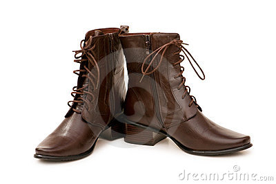 Brown boots isolated