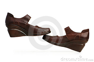 Brown boots isolated on the white