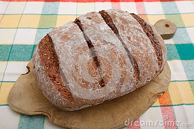 Brown bread on breadboard
