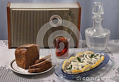 Brown bread, tea, herring, radio