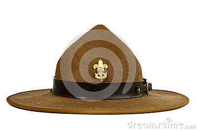Brown brim hat (hat of scout) isolated on white ba