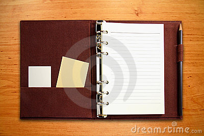 Brown canvas binder notebook with blank card