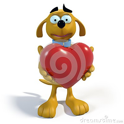 Brown cartoon dog holding a heart