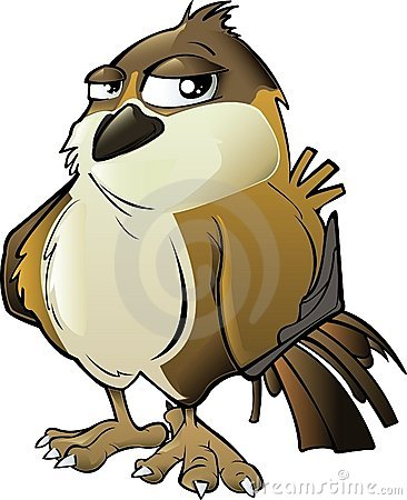 Brown Cartoon Sparrow
