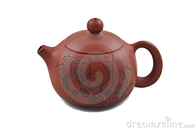 Brown ceramic teapot decorated with drawing