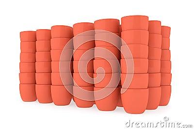Brown ceramics flowerpot set, rendered models