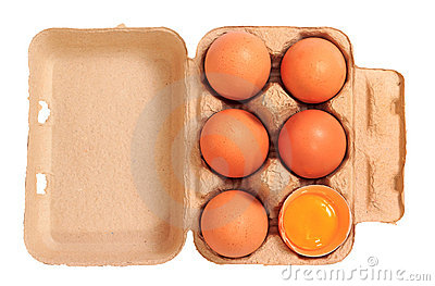 Brown chicken eggs in cardboard box container