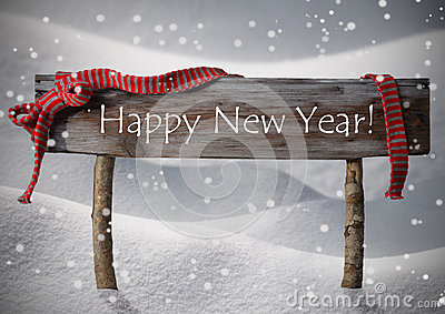 Brown Christmas Sign Happy New Year Snow, Red Ribbon, Snowflake Stock Photo