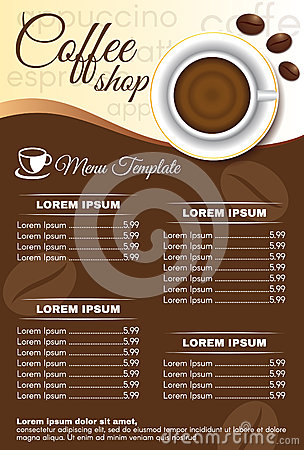 Brown Coffee Shop Menu Order Vector Design Stock Vector