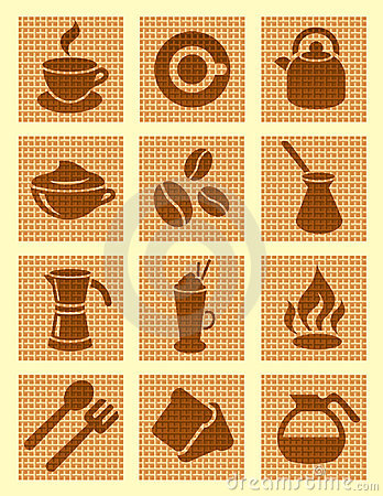 Brown coffee textured icons