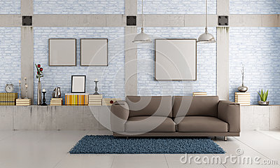 Brown couch in a loft