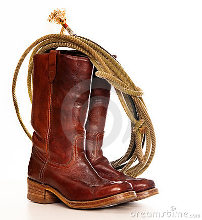 Free Brown Cowboy Boots And A Lasso Royalty Free Stock Photo - 15622445