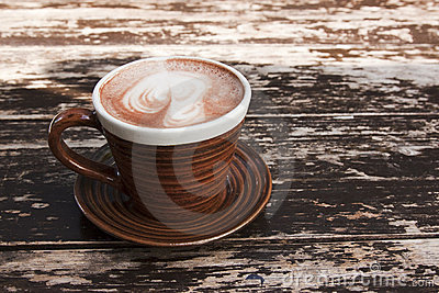 Brown cup of hot chocolate