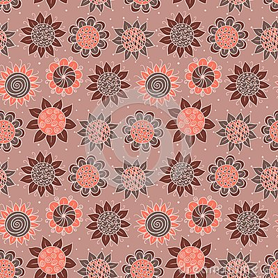 Brown doodle seamless flower pattern