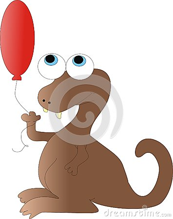 Brown Dragon with Balloon
