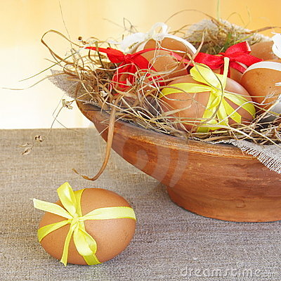 Brown Easter Eggs in Nest Bowl