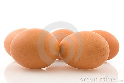 Brown eggs with reflection