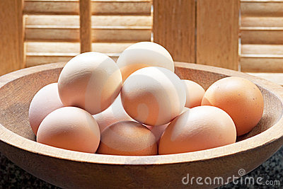 Brown Eggs in Wooden Bowl