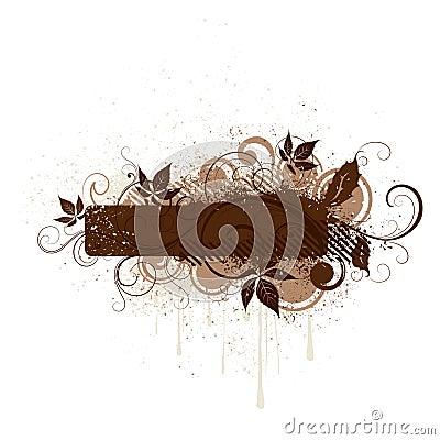 Brown floral grunge banner