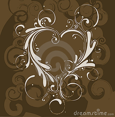 Free Brown Floral With Heart Royalty Free Stock Image - 2304006