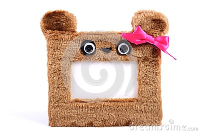 Brown fluffy photo frame