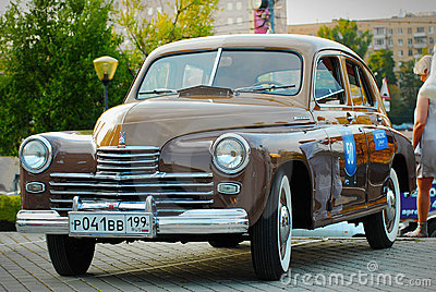 Brown GAZ Pobeda (vintage USSR car) Editorial Image