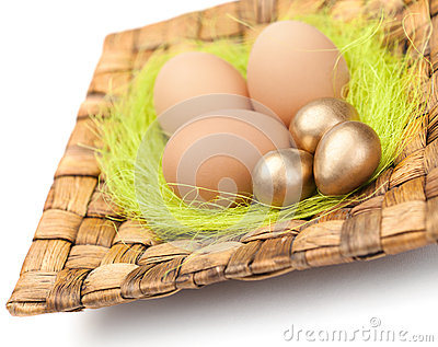 Brown and golden easter eggs