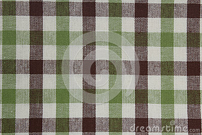 Brown and green gingham tablecloth pattern