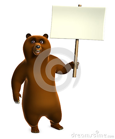 Brown grizzly bear holding blank