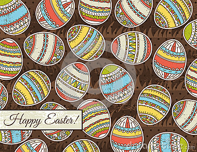 Brown grunge background with easter eggs