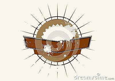 Brown grunge emblem