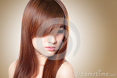 Beautiful Woman with Healthy Brown Hair
