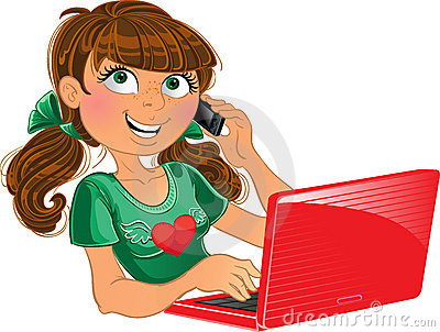 Brown-haired girl with phone and red laptop