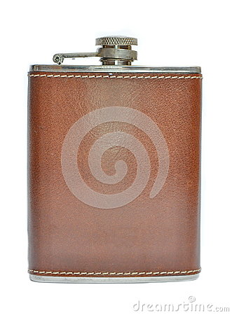 Free Brown Hip Flask Isolated Stock Image - 29638681