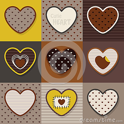 Free Brown, Khaki And Yellow Cute Hearts Pattern Set Royalty Free Stock Image - 83673916