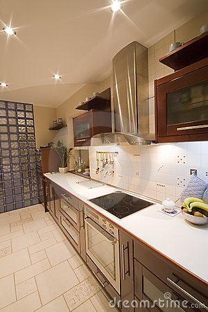 Brown kitchen interior
