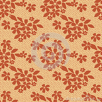 Brown lace floral seamless pattern on yellow Stock Photo
