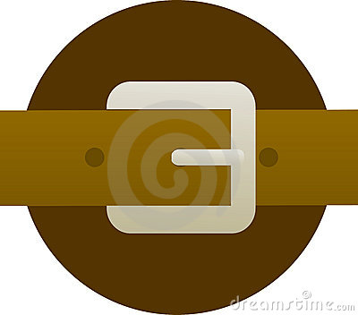 Brown leather belt and buckle illustration