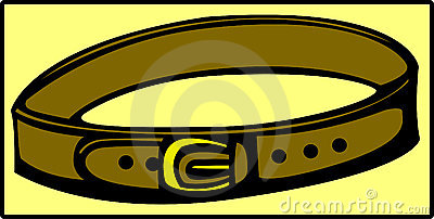 brown leather belt with golden buckle. Vector