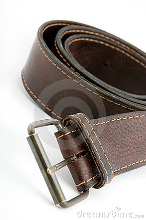 Brown leather belt with metal belt-buckle