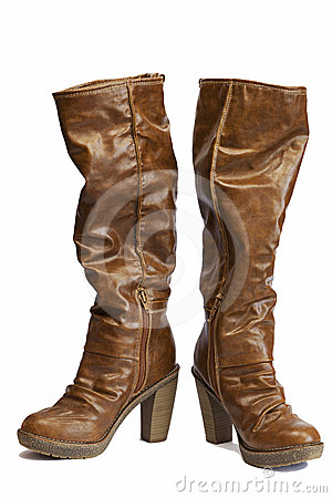 Free Brown Leather Boots Royalty Free Stock Photo - 24281075