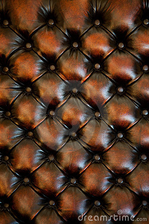 Brown Leather Chair Upholstery With Buttons Stock Images
