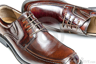 Brown leather dress shoes