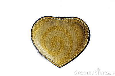 Brown leather heart on white background