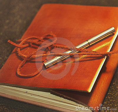 Brown Leather note book with Fill Pen