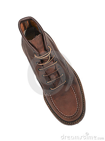 Brown leather shoe from above