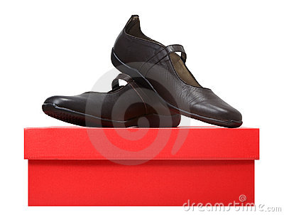 Brown leather shoes on a box