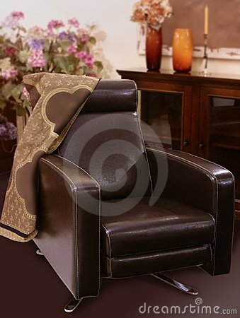 Brown leather sofa armchair classic style
