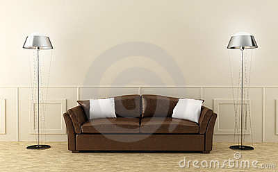 Brown leather sofa in luminous room