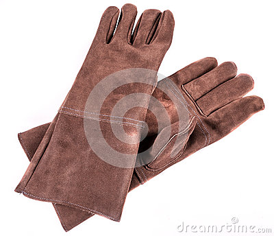 Brown leather welders gloves